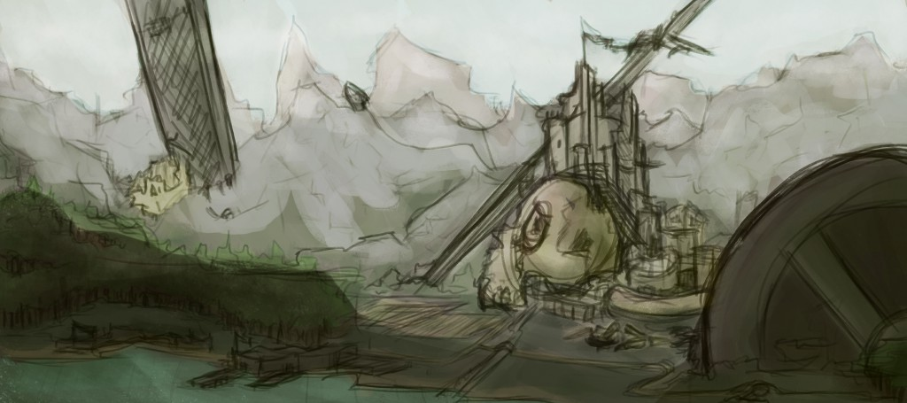 A fantasy environmental sketch.