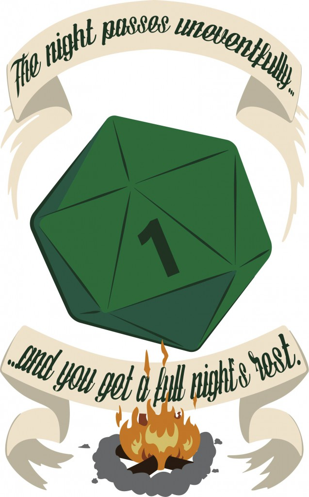 A shirt design based on rolling encounters during rest in D&D 5e.
